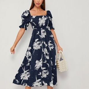 Navy floral puff sleeve long dress S
